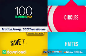 100 transitions pack after effects projects motion array
