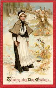 vintage thanksgiving postcards pretty thanksgiving pilgrim lady image the graphics fairy