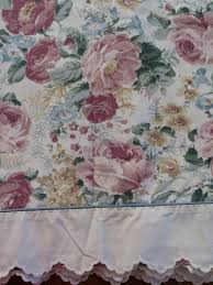 vintage twin flat sheet by revman muted pink yellow green roses
