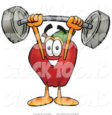 stock cartoon of a cute strong red apple character mascot holding