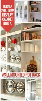wall mounted kitchen display cabinets remodelaholic diy wall mounted pot rack from a shallow