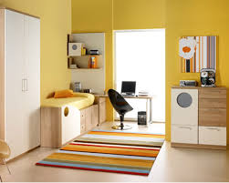Yellow Bedroom Chair Design Ideas Yellow Painted Wall Decor Interior White Cupboard