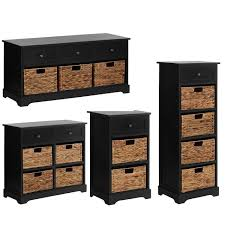 vermont cabinet bench drawers water hyacinth baskets black mdf