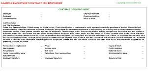 bartender employment contract