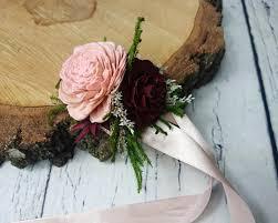 wedding flowers greenery blush pink burgundy green rustic wedding wrist corsage bridesmaids
