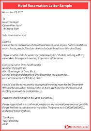 hotel reservation letter sample and format