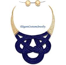 navy jewelry navy blue metal necklace