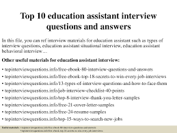 top 10 education assistant interview questions and answers