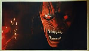 red demon giant wide size 42 x 24 print evil art zoom