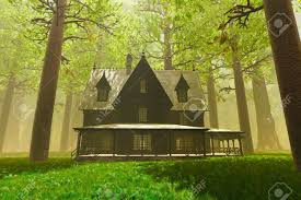 scary house in deep forest 3d render stock photo picture and