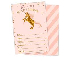 blank invitations pink and gold fill in blank unicorn birthday invitations party