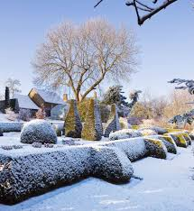 pettifers oxfordshire garden in winter snow view towards the