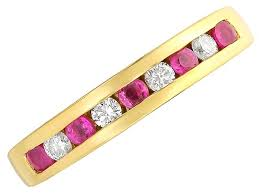 ruby eternity ring 18ct gold diamond and ruby half eternity ring 14pts d4872 f