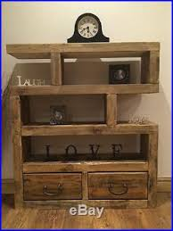Small Rustic Bookcase Wooden Shelving Unit Chunky Rustic Solid Wooden Small Shelving