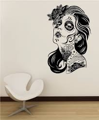 day of the dead wall decal roses girl vinyl sticker art decor home day of the dead wall decal roses girl vinyl sticker art decor home bedroom design mural interior sugar skull living room tatto in wall stickers from home