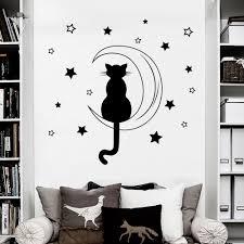high quality cat wall sticker moon buy cheap cat wall sticker moon cat silohuette sating on the moon romantic wall decals home nursery bedroom cute loving decor sweet