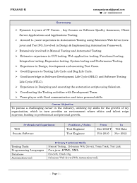 Sample Testing Resume For Experienced by Prasad Selenium Web Driver Resume Selenium Software Online