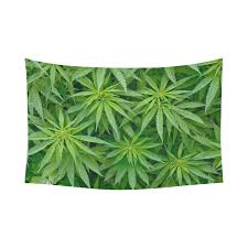 Psychedelic Room Decor Interestprint Cannabis Green Leaves Marijuana Tapestry Horizontal
