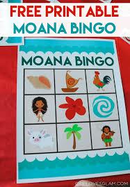 moana party games printable bingo free printable free