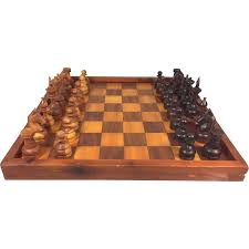 vintage carved wooden chess set w inlaid wood game board felt
