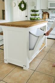 how to build a kitchen island with cabinets diy kitchen island with trash storage shades of blue interiors