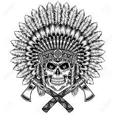 indian skull with headdress images for tatouage
