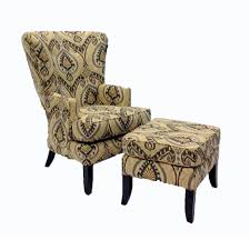 cream fabric back wing arm chair combined with block ottoman