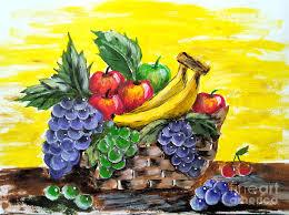 basket of fruit basket of fruits painting by jennilyn villamer vibar