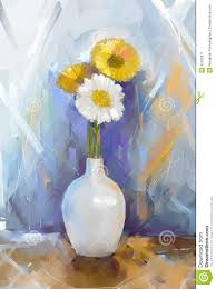 oil painting bouquet gerbera flowers in vase