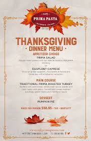 thanksgiving dinner menu cafe prima pasta