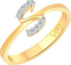 s ring vighnaharta initial s letter alloy cubic zirconia 18k yellow