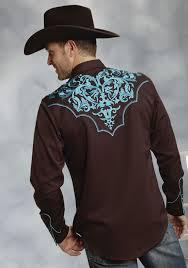 roper men u0027s brown embroidered ls snap old west shirt