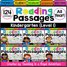 kindergarten reading passage fluency and skill based reading comprehension passages level 1