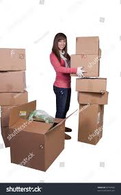 young packing moving white background stock photo 69797566