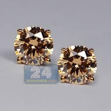 womens stud earrings womens cognac swarovski stud earrings 14k yellow gold