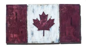 distressed wood one of a kind canadian flag maple leaf l