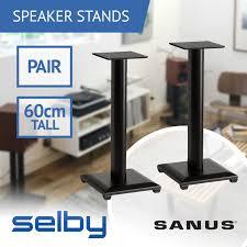 pair of 60cm sanus nf24 speaker stands for bookshelf speakers wood