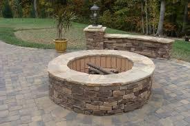 Round Brick Fire Pit Design - exterior inspiring landscape design plus natural stone flooring