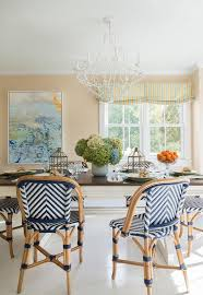 blue chevron rattan dining chairs transitional dining room