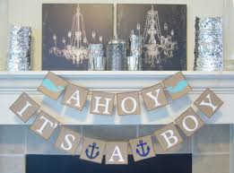 Nautical Themed Baby Rooms - ahoy it u0027s a boy baby shower banner nautical theme baby