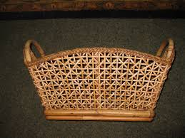 antique rattan and reed basket two handles 22 long 12 at handles