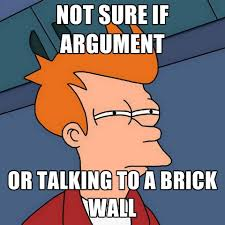 Brick Wall Meme - not sure if argument or talking to a brick wall create meme
