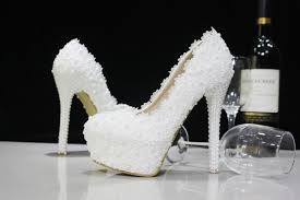 Wedding Shoes Heels Cheap Fashion Luxury Beaded White Lace Pearls Wedding Shoes High
