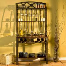 Decorating A Bakers Rack Corner Bakers Rack With Wine Storage Decoration