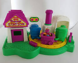 vintage playskool barney station push and go spinning train figure