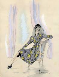 gerd grimm fashion drawing 1947 ink watercolour for sale by