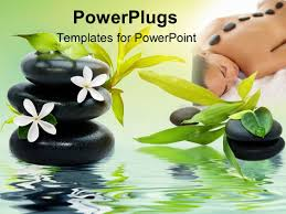 wooden letter templates powerpoint template wooden letters with vines spelling spa 26964 powerplugs powerpoint template with spa theme with black relaxing spa stones white flowers and green
