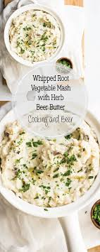 cooker root vegetable mash with herb butter