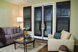 Blinds Shutters And More Stained French Door Cut Out True View Plantation Shutters And Std
