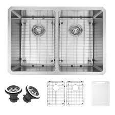 VIGO Undermount Stainless Steel  In Double Basin Kitchen Sink - Kitchen sink grids